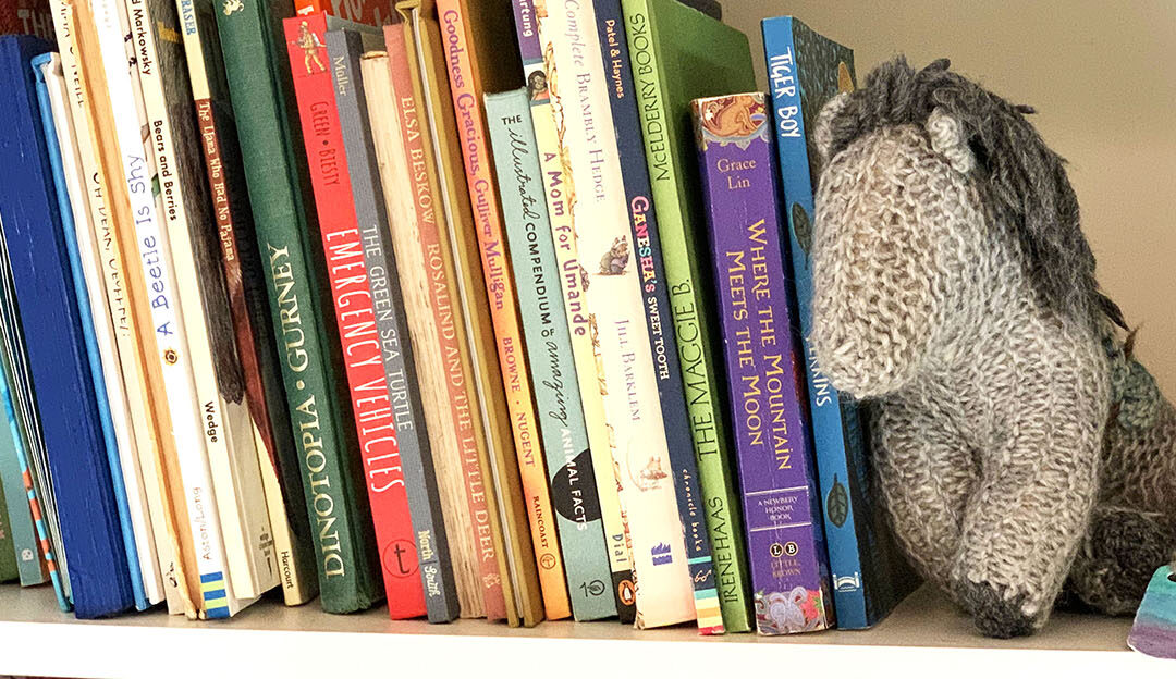 Shelf with books and knitted horse