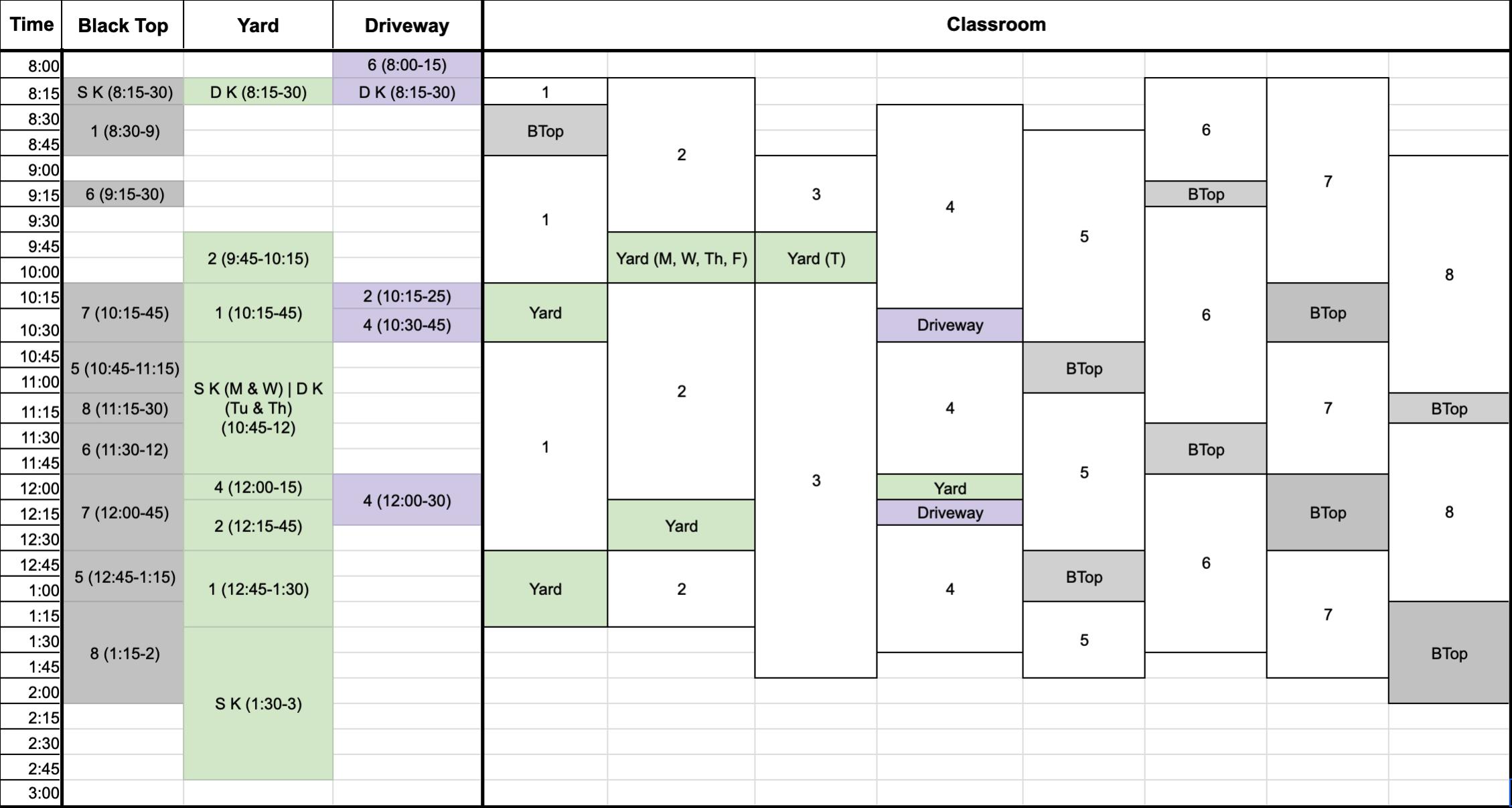 BRWS schedule